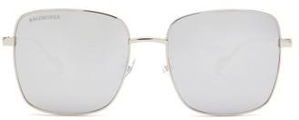 Balenciaga Ghost Mirrored Square Metal Sunglasses - Womens - Silver