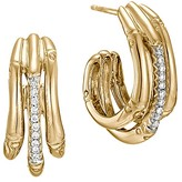 John Hardy Bamboo 18K Yellow Gold Diamond Pavé Small Hoop Earrings with Diamonds
