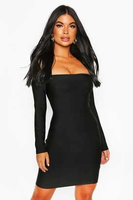 boohoo Petite Bardot Long Sleeve Bandage Dress