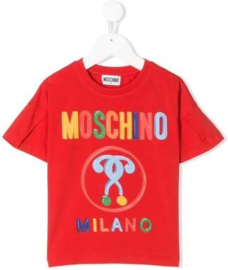MOSCHINO BAMBINO rainbow logo print T-shirt