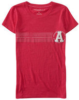 Aeropostale Womens Crest Racing Stripe Graphic T Shirt