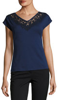 Lafayette 148 New York Lace-Trimmed Swiss Stretch Cotton Top