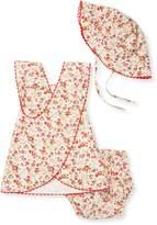 Elephantito Summer Floral Cotton Dress, Bloomers & Hat Set