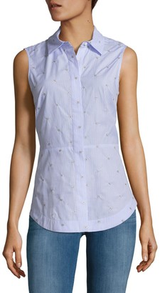 Derek Lam 10 Crosby Embellished Tie-Back Collared Shirt