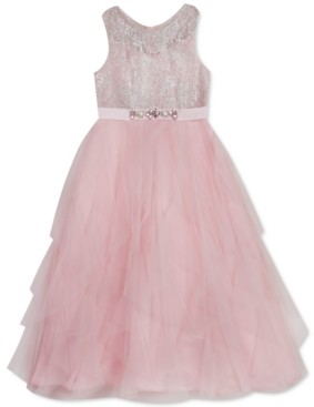 Rare Editions Toddler Girls Sparkle & Tulle Cascade Gown