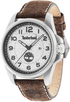 Timberland Men's Leyden Dark Brown Leather Strap Watch 46x57mm TBL14768JS04