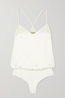 L'Agence Mariiela Silk-satin And Stretch-jersey Bodysuit - White