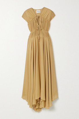 TOVE Flores Gathered Silk-georgette Maxi Dress - Tan