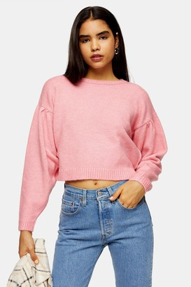 Topshop Pink Pleated Shoulder Cropped Knitted Sweater