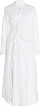 Georgia Alice Universe Ruched Cutout Cotton-Poplin Dress