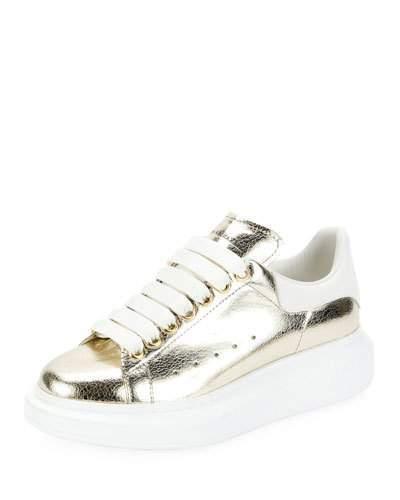 Alexander McQueen Metallic Lace-Up Platform Sneaker