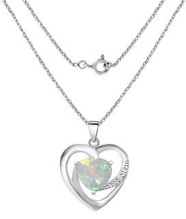 Ethopian Opal, Cubic Zirconia Sterling Silver Heart, Round Short Pendant by Orchid Jewelry