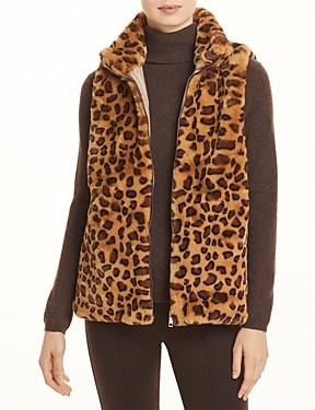Echo Faux Fur Leopard Zip Front Vest