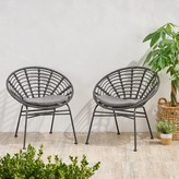 Bungalow Rose Tarrance Wicker Patio Dining Chair with Cushion Frame Color / Cushion Color: Gray Frame / Dark Gray Cushion