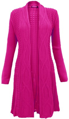 Top Vendor Ladies Cable Knit Boyfriend Waterfall Long Jumper Cardigan Top Plus Size Cerise 20-22