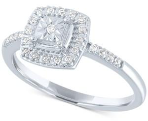 Macy's Diamond Cluster Halo Ring (1/8 ct. t.w.) in 10k White Gold