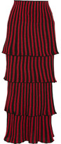 Sonia Rykiel Tiered Metallic Striped Stretch-knit Maxi Skirt - small