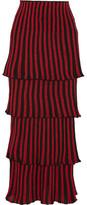 Sonia Rykiel Tiered Metallic Striped Stretch-knit Maxi Skirt - x small