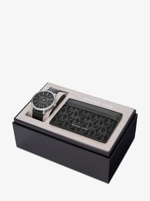 Michael Kors Blake Leather Watch and Logo Card Case Set