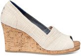 Toms Natural Linen Cork Women's Classic Wedges