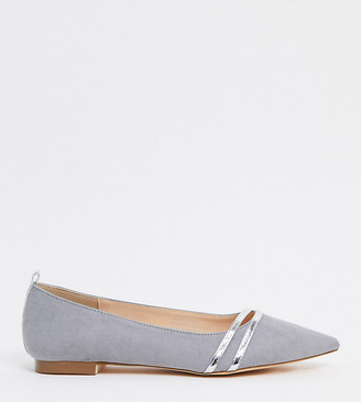 London Rebel wide fit pointed flat ballets in grey