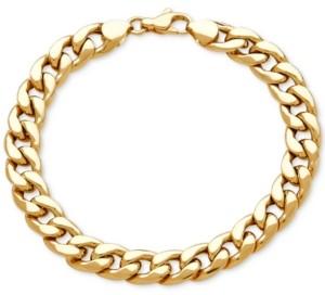 Italian Gold Men's Heavy Curb Link Bracelet in 10k Gold