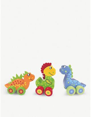 Selfridges Dinosaur First Vehicles wooden toy dinosaur set of three 10.5cm