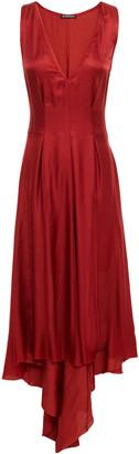 Ann Demeulemeester Asymmetric Pleated Satin Midi Dress