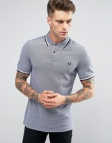 Fred Perry Polo Shirt With Tipping In Carbon Blue