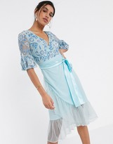 Thumbnail for your product : Frock and Frill fluted sleeve embellished midi dress in blue