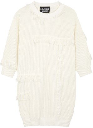 Boutique Moschino White Fringed Cotton-blend Jumper Dress