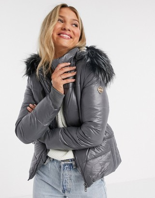 Maya puffer jacket with detachable faux fur hood in grey