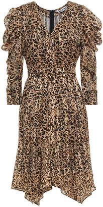 Walter Baker Asymmetric Gathered Leopard-print Chiffon Dress