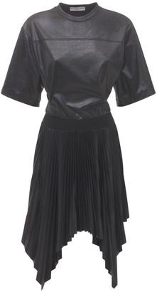 Givenchy Waxed Pleated Dress W/ Back Logo