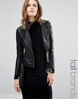 Vero Moda Tall Stud Faux Leather Biker Jacket