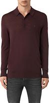 Allsaints Allsaints Mode Merino Slim Knitted Polo Shirt, Damson Red