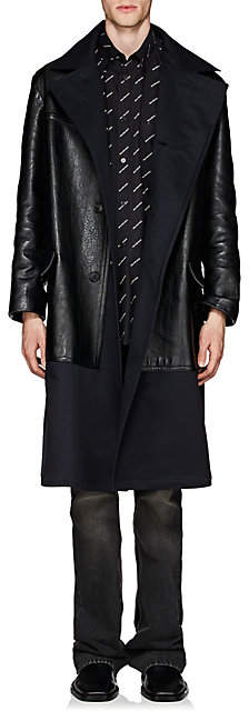 Balenciaga Men's Leather & Twill Trench Coat - Black