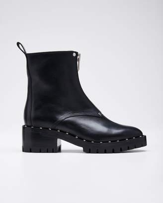 3.1 Phillip Lim Hayett Studded Leather Front-Zip Booties