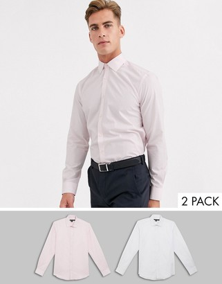 French Connection 2 pack slim fit shirts-White