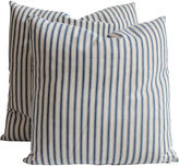 One Kings Lane Vintage Blue & White Striped Ticking Pillows