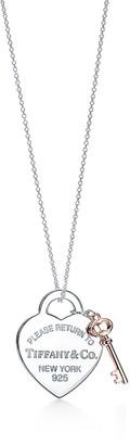 Tiffany & Co. Return to TiffanyTM Heart Tag Key Pendant in Silver and Rubedo Metal, Medium