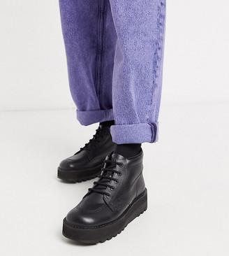 Kickers hi stack platform boots in black leather
