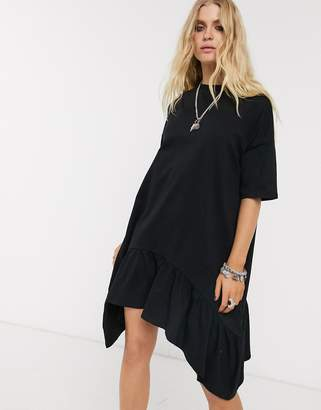 Asos Design DESIGN dip hem oversized smock dress in black