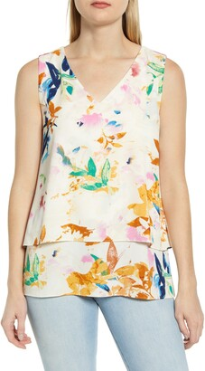 Chaus Bohemian Bouquet V-Neck Tiered Top