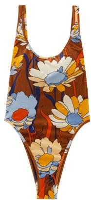 Fendi Daisies-print Terry Swimsuit - Womens - Brown Print