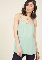 mct1025 Your task? Take this mint tank - a piece of our ModCloth namesake label - from daytime activities to nighttime fun. By implementing your style savvy on the strappy silhouette and breezy crepe fabric of this truly unique top, you'll victoriously craf