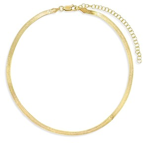 Adina's Jewels Herringbone Chain Choker Necklace, 11.5-14.5