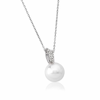 Majorica Exquisite Sterling Silver Pendant Organic Pearl and Zirconia