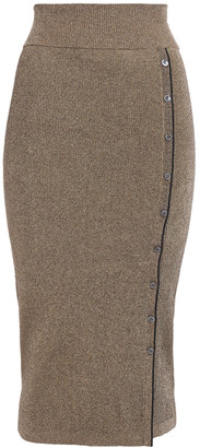 Jonathan Simkhai Button-detailed Metallic Ribbed-knit Midi Skirt