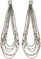 Brunello Cucinelli Silver and Ivory Loop Earrings
